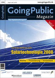 Solartechnologie 2008: Märkte - Finanzierung - Investment