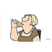 Loriot Schneidebrettchen Frühstücksbrettchen Brettchen Frau beim Kaffee trinken
